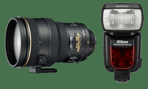 Объектив и вспышка Nikon